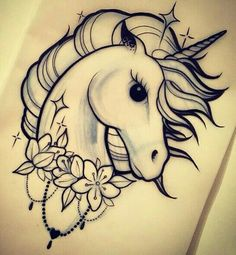 Unicorn Head 430 (Pack of . Unicorn Tattoo Stencil  Pencil Art Drawings, Art Drawings Sketches, Tattoo Sketches, Animal Drawings, Cute Drawings, Tattoo Drawings, Body Art Tattoos, Drawings Of Unicorns, Tatoos