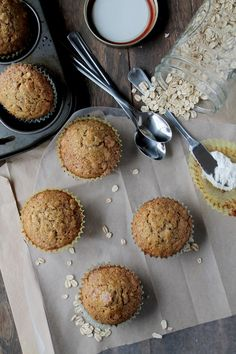 1 cup rolled oats  1 cup eggnog  1 cup all-purpose flour  ½ teaspoon baking powder  ¾ teaspoons baking soda  ¼ teaspoon salt  1 teaspoon cinnamon  2 eggs  1 teaspoon vanilla  ¼ tsp rum extract  1/3 cup brown sugar  1/3 cup vegetable oil  Turbinado Sugar  Preheat oven to 400.