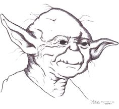 Yoda Pen Drawing by kahokurusu