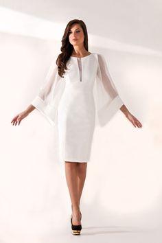 MORGANE:Robe courte avec des manches évasées en soie, doublée tissu en strech pour marquer la silhouette féminine