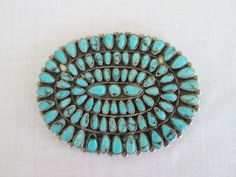 Johnny Mike Begay J M Begay Turquoise Petit Point Piece Sterling Silver Signed