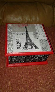 Decoupage y craquelado en caja madera - Lorena Belart