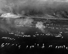 The first wave of landing craft at Iwo Jima, 19 Feb 1945