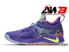 0ea6b7ac765 Chaussure de BasketBall Pas Cher Pour Homme 2019 Nike PG 2 Vert pourpre  AO2985-001