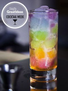 RAINBOW These inventive cubes were made with seven colored liquids, includingGatorade, for a gin and tonic (chilled to prevent the ice from...