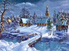 Beautiful Christmas Wallpaper Scenes Stunning wallpapers with Christmas village and nature themes. Christmas Scenes, Vintage Christmas Cards, Christmas Pictures, Beautiful Christmas, Winter Christmas, Christmas Time, Christmas Music, Winter Snow, Merry Christmas
