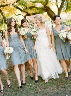 Mismatched Bridesmaids Dresses, Dusty Blue Dresses, Bridesmaids in Dusty Blue