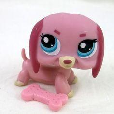 Littlest Pet Shop 1306 Dachshund Pink Sausage dog LPS Figure HASBRO 2006 bone