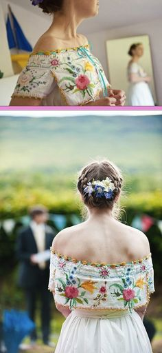 """Handmade dress using vintage tablecloths. The bride says """"I chose to design my own dress because I had originally wanted a vintage dress, but found that the nicest ones were out of my price range."""""""