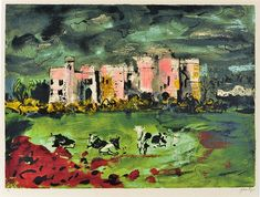 John Piper, Carew Castle, (Pembrokeshire, SW Wales), date?screenprint on paper 44 x 64 cm. Watercolor Bird, Watercolor Paintings, John Piper Artist, Landscape Sketch, Tate Gallery, Sense Of Place, Abstract Painters, Art For Sale, Screen Printing