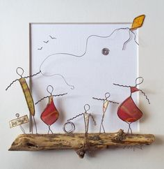Feuille Aluminium Art, Art Projects, Projects To Try, Wire Art Sculpture, Wire Drawing, Wire Flowers, Driftwood Art, Wire Crafts, Metal Art