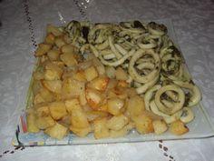 Pomme de terre au four et calamar fris
