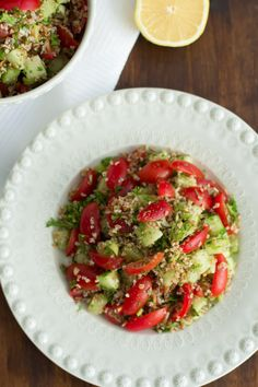Tabbouleh - can easily substitute bulgur for quinoa, couscous or even brown rice.