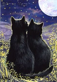 Under The Moonlight by Anne Marsh Crazy Cat Lady, Crazy Cats, I Love Cats, Cute Cats, Animals And Pets, Cute Animals, Black Cat Art, Black Cats, Here Kitty Kitty