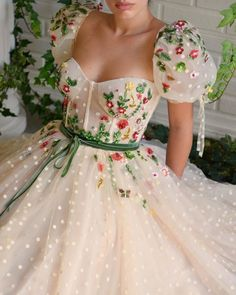 Floral Dreams Gown Details : – Beige dress color – Polka Dots tulle fabric – Embroidered garden of flowers and crystals on top of the dress – For special occasions Ball Dresses, Ball Gowns, Evening Dresses, Beige Dresses, Formal Dresses, Wedding Dresses, Grad Dresses Short, Pretty Dresses, Beautiful Dresses
