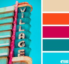 Vintage Hues Blue, Teal, Orange and Pink colour palette. Colour Pallette, Color Palate, Colour Schemes, Color Combos, Color Patterns, Retro Color Palette, Bright Color Palettes, Bright Colors, Decoration Inspiration