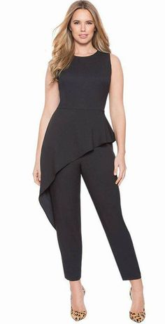 Black Plus Size Peplum Jumpsuit - This is a wonder alternative to a LBD when you want to look chic and modern. This black jumpsuit in a peplum silhouette comes in all plus sizes. Plus size black peplum jumpsuit for women. Plus Size Peplum, Plus Size Jumpsuit, Plus Size Dresses, Plus Size Outfits, Curvy Fashion, Look Fashion, Plus Size Fashion, Womens Fashion, Latest Fashion