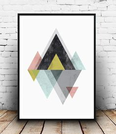 Mountains print, Scandinavian print, Abstract wall art, geometric art…