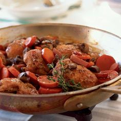 French - Quick Coq au Vin -     It's hard to beat this authentic French dish, which features juicy chicken thighs cooked in red wine with mushrooms, carrots, and bacon.