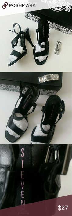Wknd Drop! Steven by Steve Madden Leather Sandal Black, 100% genuine leather sandals.  Heels are approx. 3in. For that high heel look in a very practical height.  Never worn with leather outsole NWOT *Ask questions B4 U buy* Steven by Steve Madden Shoes Sandals