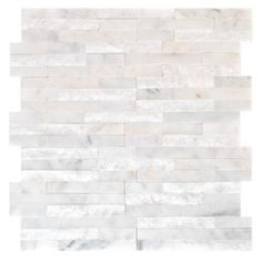 wall Tiles White - Jeffrey Court Churchill White Split Face 11 75 in x 12 625 in x 13 mm Marble Mosaic Wall Tile. Mosaic Wall Tiles, Marble Mosaic, Marble Wall, Fireplace Remodel, Fireplace Tiles, White Fireplace, Up House, Fireplace Surrounds, Stone Fireplaces