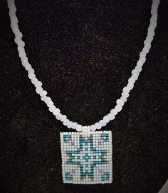 handmade beaded cross medallion pendant necklace #Handmade #Beaded