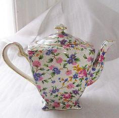 Chintz Teapots | Vintage Art Deco Royal Winton Old Cottage Chintz Teapot Tea Pot Ascot ...