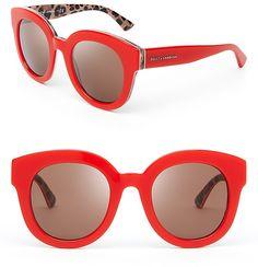 Dolce&Gabbana Animalier Oversized Round Sunglasses