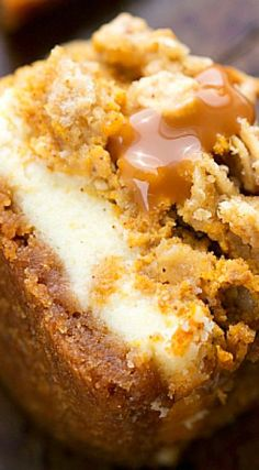 Pumpkin Caramel Cheesecake Bars with Streusel Topping ~ Delicious pumpkin cheesecake bars — two layers of cheesecake on a delicious cinnamon graham cracker crust all topped with an easy streusel and c (Cheesecake Recipes With Condensed Milk) Holiday Desserts, Holiday Baking, Just Desserts, Delicious Desserts, Dessert Recipes, Yummy Food, Recipes Dinner, Thanksgiving Desserts, Pumpkin Cheesecake Bars