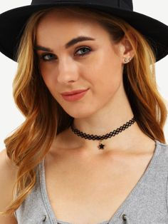 Star Pendant Hollow Lace Choker Necklace