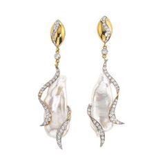 14k yellow gold earrings with Pearls and Diamonds in a ribbon like pattern A Jorge Adeler original design