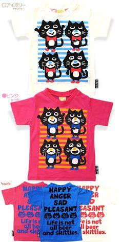 bit'z(ビッツ)ねこねこ半袖Tシャツ【(こどもふく)/80-120】