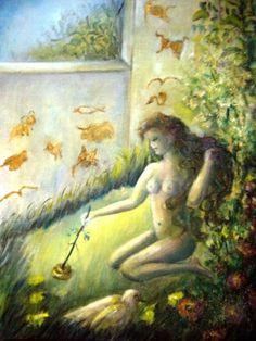 Remedios la bella pintando en las paredes
