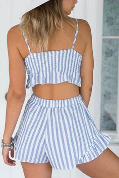 Striped Cami Crop Top and Wide Leg Shorts Suit Crop Top And Shorts, Cami Crop Top, Crop Tops, Shorts Co Ord, Summer Outfits, Cute Outfits, Short Suit, Two Piece Outfit, Slip