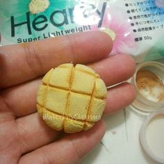 Melon Pan charm made out of air dry clay. My favorite brand is hearty soft. What do you think? Realistic?  #melonpan #heartyclay #clay #airdryclay