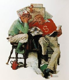 """""""Cramming"""", 1931. Norman Rockwell (1894-1978)..... Norman Rockwell Art, Norman Rockwell Paintings, Decoupage, Ad Art, Illustrations, Famous Artists, Artist Art, American Artists, Watercolor Illustration"""