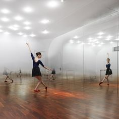 ANZAS Dance Studio by Tsutsumi and Associates. Beijing. Curves in the apex of each corner further blur the perceived boundaries of the room. Tiny graduated dots create the illusion of a mist hanging in the air; focus on body behavior.