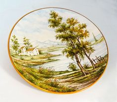 Plate ø35, collectors' wall plate, handmade, richly worked with traditional landscape decorated by hand. A true work of italia artistic craftmanship.  #ceramics #madeinitaly