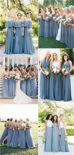 Dusty blue bridesmaid dresses#weddings #dresses #weddingideas #bridesmaids #blue
