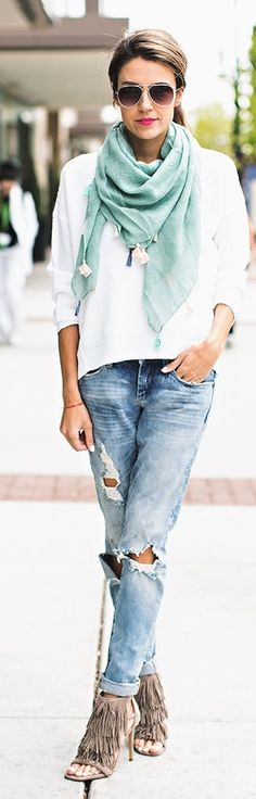 Teal Scarf Outfit Idea by Hello Fashion
