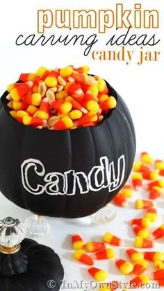 Footed-Candy-Jar with a foam pumpkin