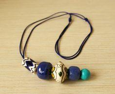 Ceramic Necklace Handpanted Indigo Blue Tube by BannerDesignShop