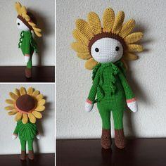 Sunflower Sam flower doll made by Secretos de algodóN - crochet pattern by Zabbez