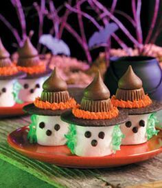 No-Bake Marshmallow Witches Are a Quick and Easy Halloween Snack I could take these to school and make the kids calculate the volume of the different parts and then the ratio of marshmallow to kiss to peanut butter cup