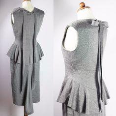 Office Dresses, Vintage Fashion, Vintage Style, Secretary, Ebay Clothing, Herringbone, Peplum Dress, Size 12, High Neck Dress