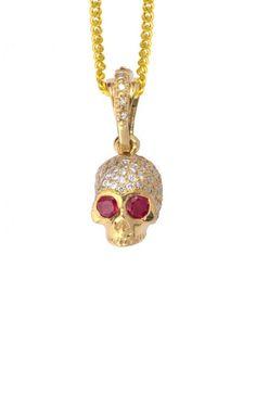 18K Yellow Gold Hamlet Skull w/Pave Diamonds and Ruby Eyes Pendant