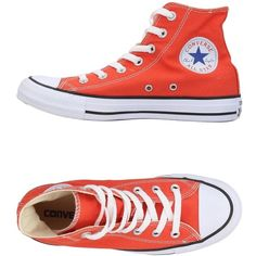 Converse All Star High-tops & Sneakers (185 PLN) ❤ liked on Polyvore featuring shoes, sneakers, orange, round toe flat shoes, converse high tops, orange high tops, round cap and converse shoes