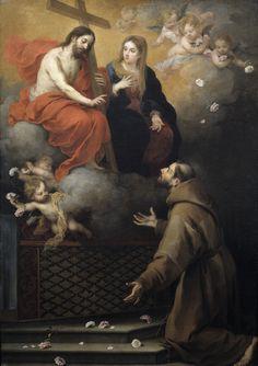 https://flic.kr/p/o2JWBU   Visión de San Francisco en la Porciúncula   1667. Oil on canvas. 206 x 146 cm. Museo Nacional del Prado, Madrid. P00981.