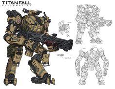 Titanfall fan art / vehicle, Woo Kim on ArtStation at… Sci Fi Armor, Sci Fi Weapons, Robot Concept Art, Armor Concept, Science Fiction, Gato Anime, Arte Robot, Arte Cyberpunk, Tatoo Art