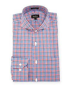 Classic-Fit Regular-Finish Check-Print Dress Shirt, Red/Navy by Neiman Marcus at Neiman Marcus Last Call.